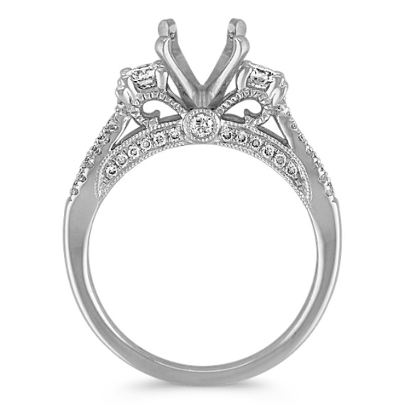 Three-Stone Swirl Diamond Engagement Ring in 14k White Gold image