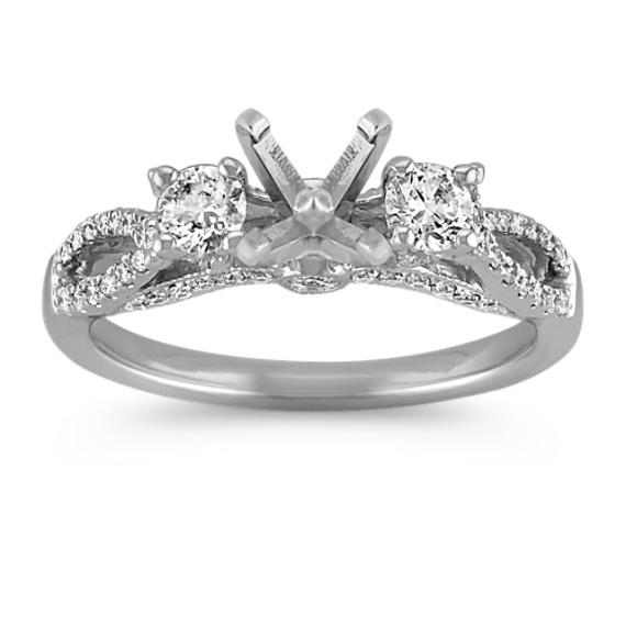 Three-Stone Swirl Diamond Engagement Ring in 14k White Gold