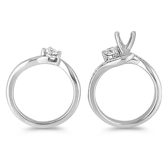 Three-Stone Swirl Diamond Wedding Set with Channel-Setting image