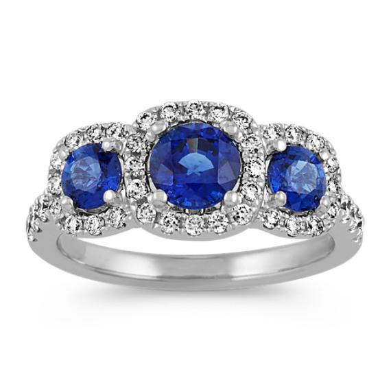 Three-Stone Traditional Blue Sapphire Ring