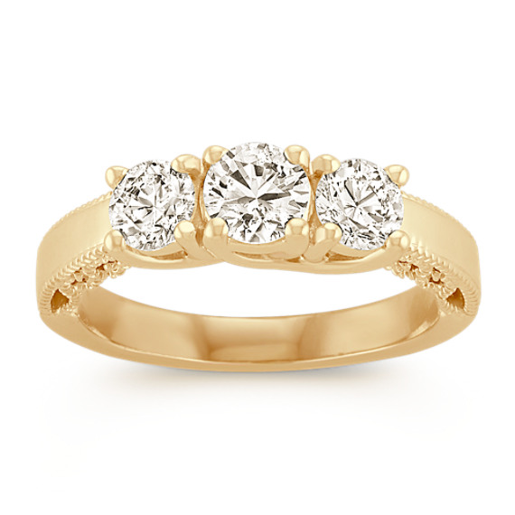 Three-Stone Vintage Round Diamond Ring