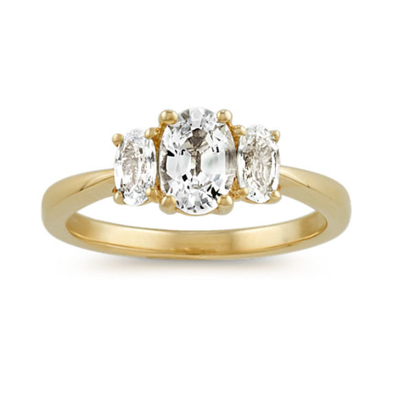 Three-Stone White Sapphire Ring in 14k Yellow Gold