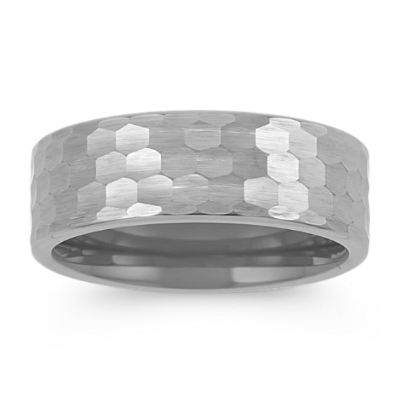 Titanium Mens Band with Hammered Finish (8mm)