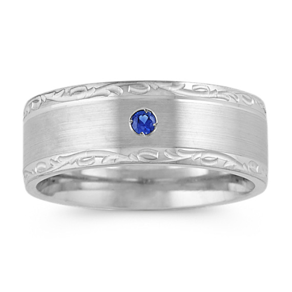 Traditional Blue Sapphire Mens Band (8mm)