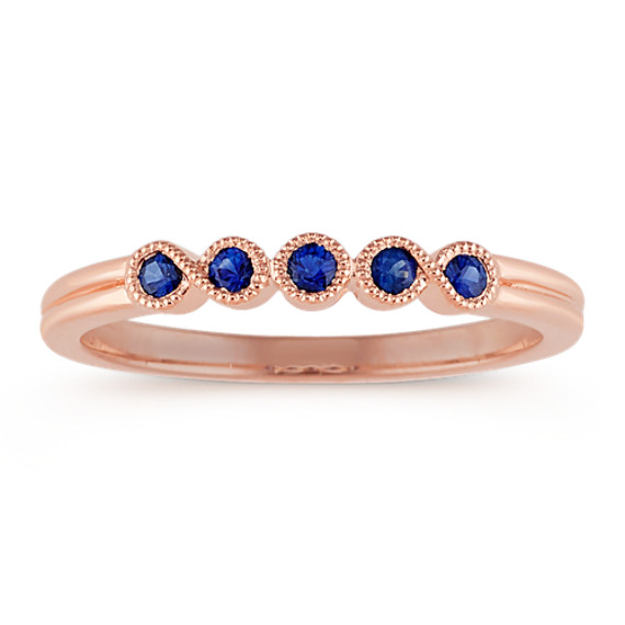 Traditional Blue Sapphire Ring in Rose Gold