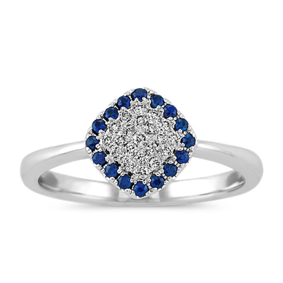 Traditional Blue Sapphire and Diamond Cluster Ring