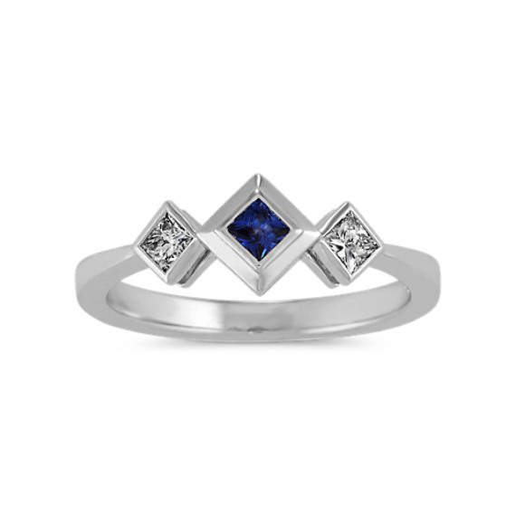 Traditional Blue Sapphire and Diamond Ring in 14k White Gold