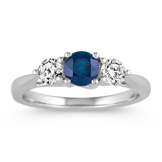 Traditional Blue Sapphire and Diamond Three-Stone Ring