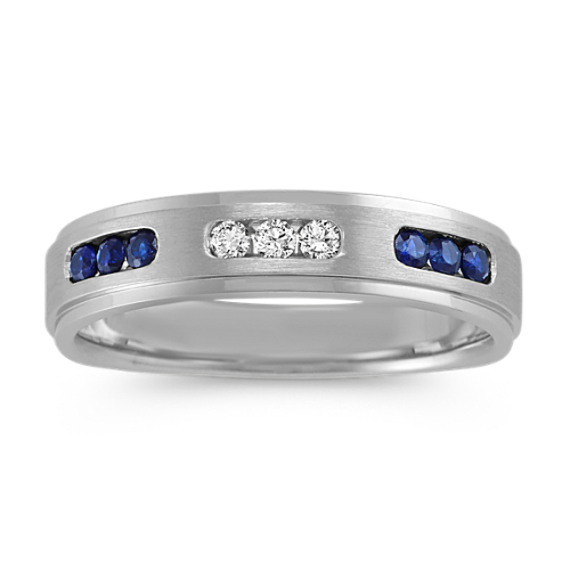 Traditional Blue Sapphire and Diamond Wedding Band (5mm)