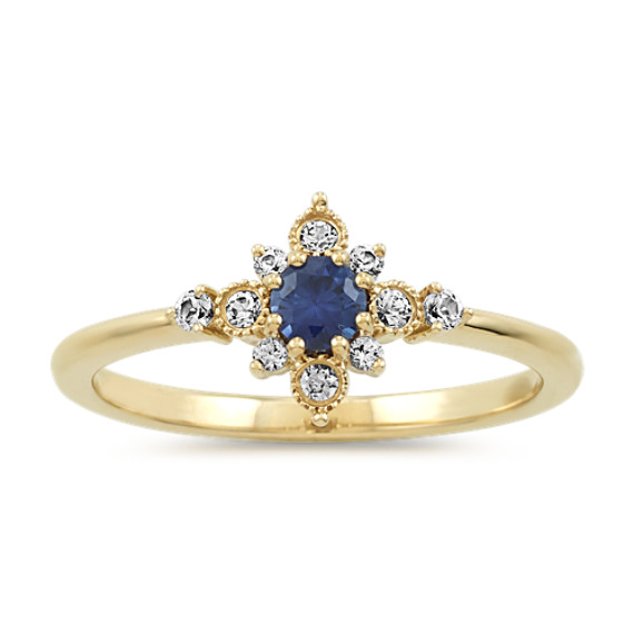 Traditional Blue and White Sapphire Ring in 14k Yellow Gold