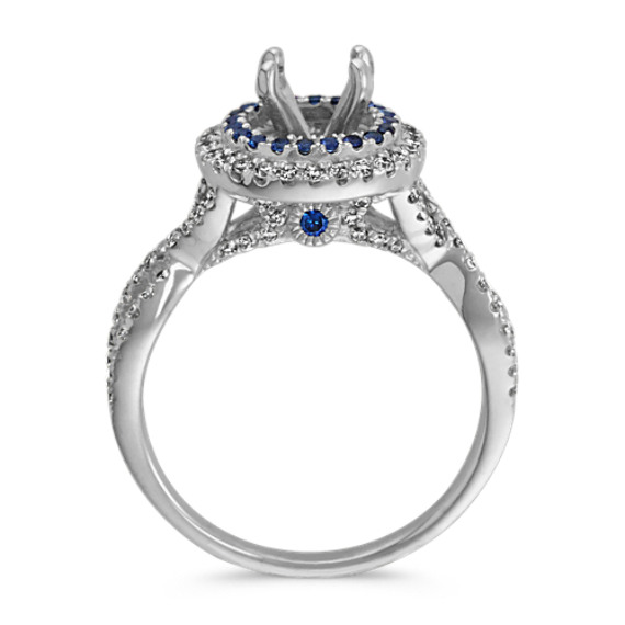 Traditional Sapphire and Round Diamond Halo Infinity Engagement Ring image