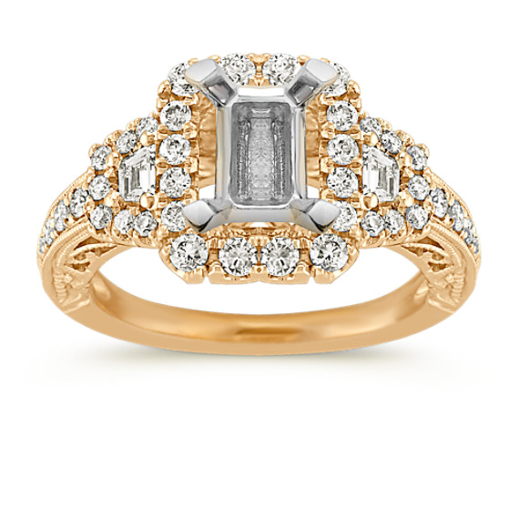 Trapezoid and Round Diamond Vintage Halo Engagement Ring in 14k Yellow Gold