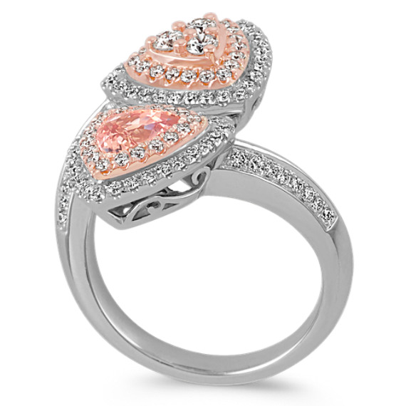 Trillion Peach Sapphire and Round Diamond 14k White and Rose Gold Ring image