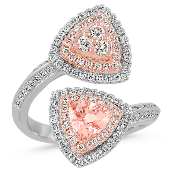 Trillion Peach Sapphire and Round Diamond 14k White and Rose Gold Ring