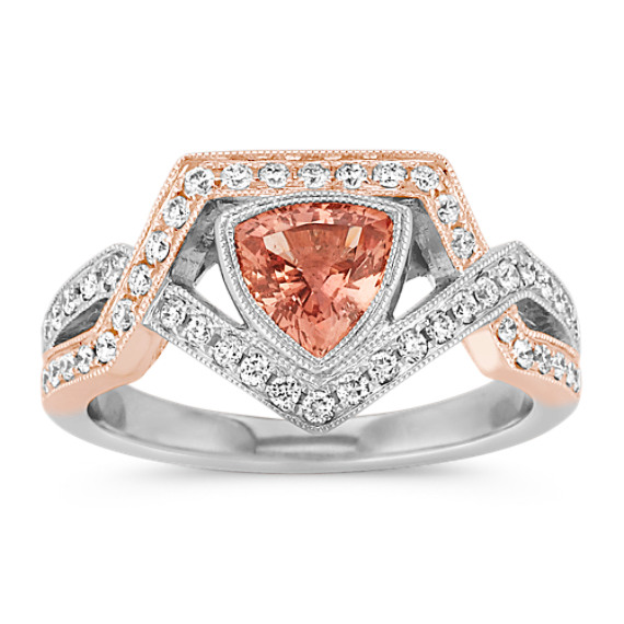 Trillion Peach Sapphire and Round Diamond Ring