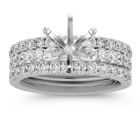 Triple Band Round Diamond Wedding Set