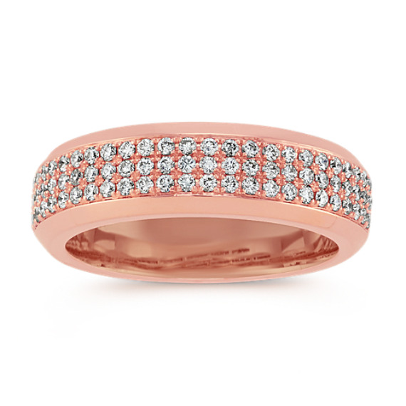 Triple Row Diamond Ring in Rose Gold with Pave Setting (6.5mm)