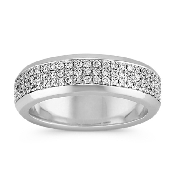 Triple Row Round Diamond Band with Pave Setting (7mm)