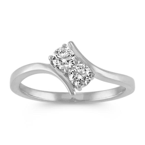 Two-Stone Diamond Ring in 14k White Gold