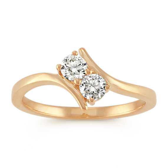 Two-Stone Diamond Ring in 14k Yellow Gold