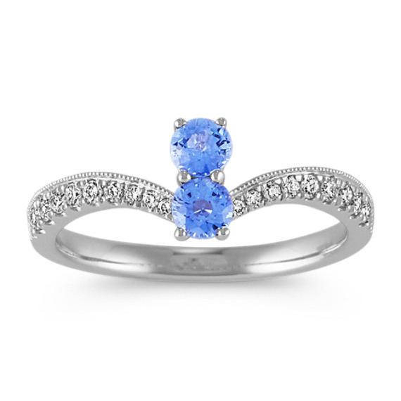 Two-Stone Ice Blue Sapphire and Diamond Ring