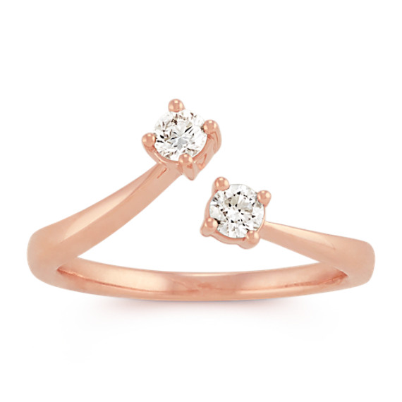 Two-Stone Round Diamond Open Ring in 14k Rose Gold