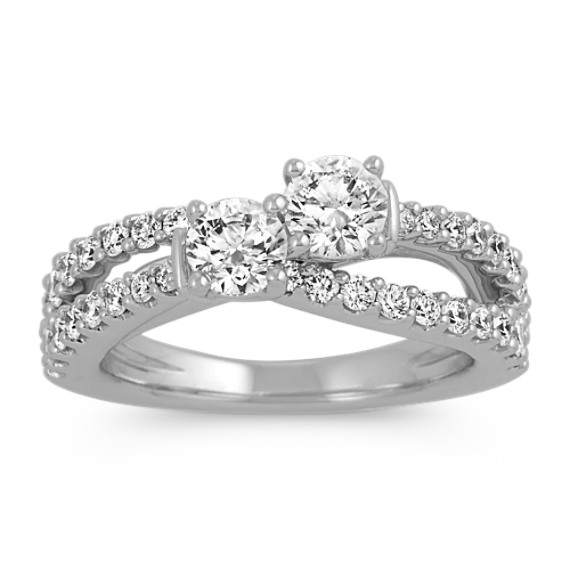 Two-Stone Round Diamond Split Shank Ring in 14k White Gold