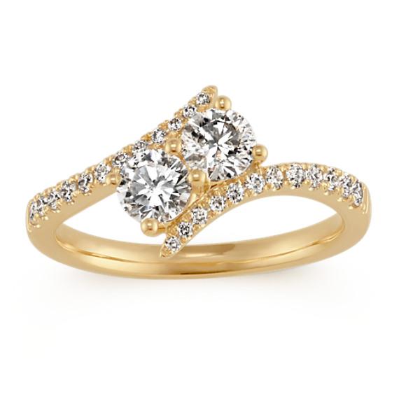Two-Stone Round Diamond Swirl Ring 14k Yellow Gold