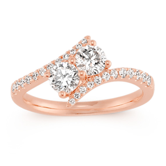 Two-Stone Round Diamond Swirl Ring in 14k Rose Gold