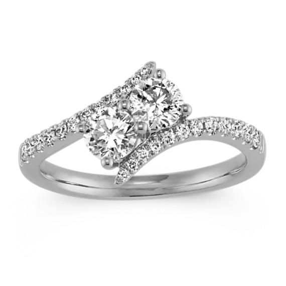 Two-Stone Round Diamond Swirl Ring in 14k White Gold