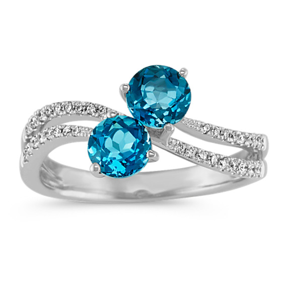 Two-Stone Round London Blue Topaz and Diamond Ring