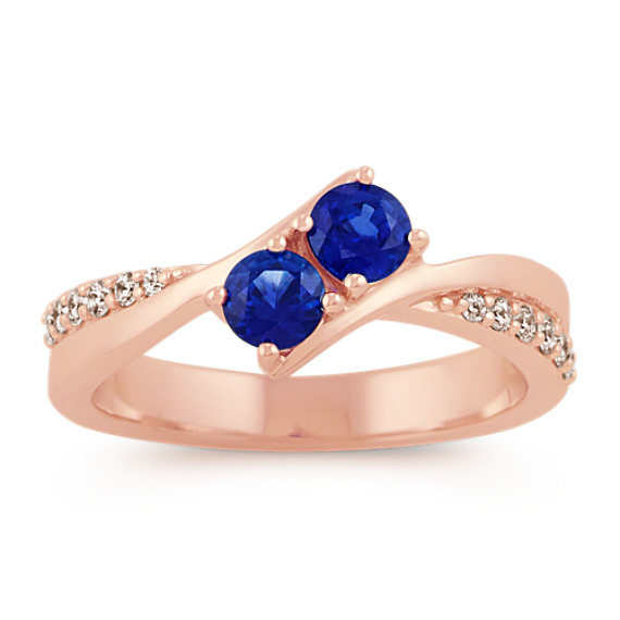 Two-Stone Round Sapphire and Diamond Ring in 14k Rose Gold