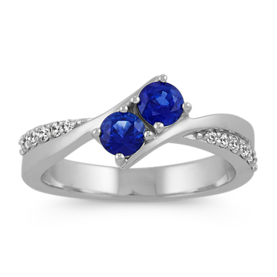 Two-Stone Round Sapphire and Diamond Ring in 14k White Gold