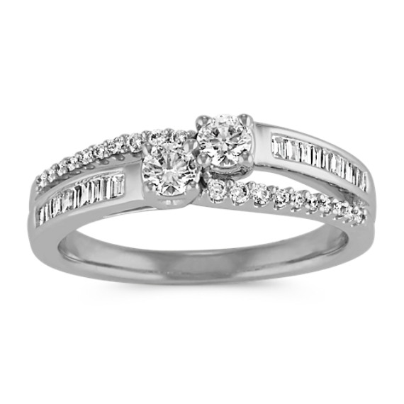 Two-Stone Round and Baguette Diamond Split Shank Ring