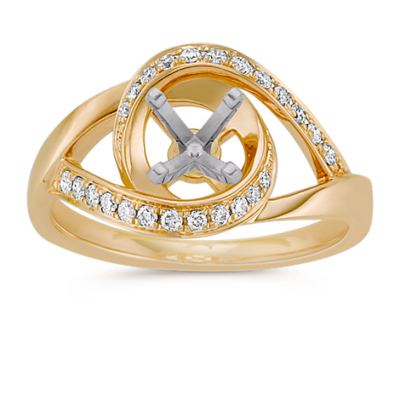 Under and Over Swirl Diamond Ring in 14k Yellow Gold
