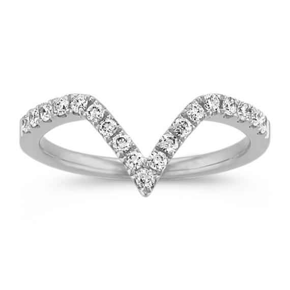 V Shaped Diamond Ring in 14k White Gold Shane Co