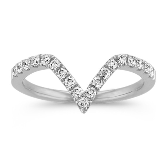 V Shaped Diamond Ring in 14k White Gold