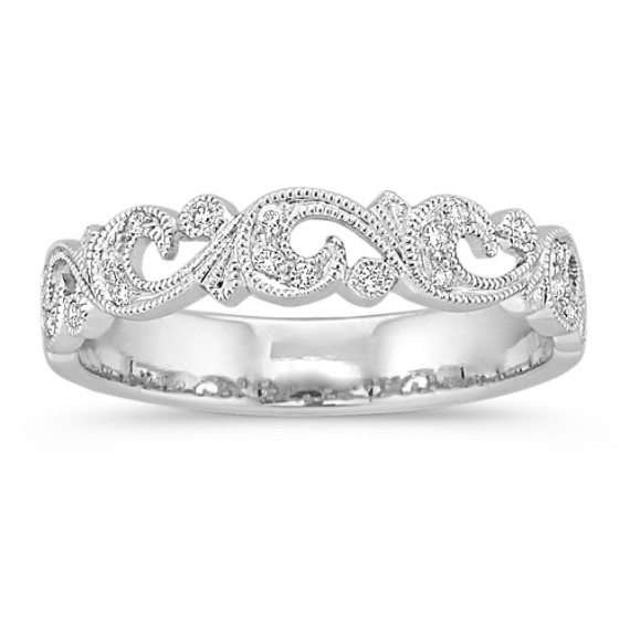 Vined Vintage Diamond Platinum Wedding Band with Pave-Setting