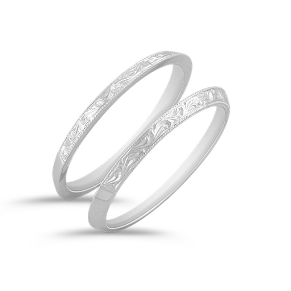 Vintage 14k white gold double wedding bands shane co tap to zoom thumbnail junglespirit Images
