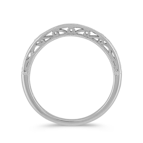 Vintage 14k White Gold Wedding Band image