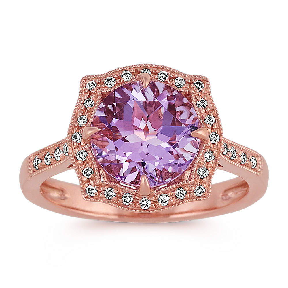 Vintage Amethyst and Diamond Ring in 14k Rose Gold | Shane Co.
