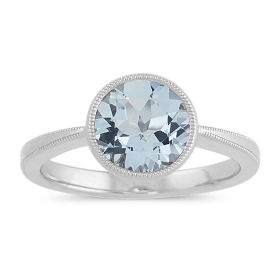 Vintage Aquamarine Ring in 14k White Gold