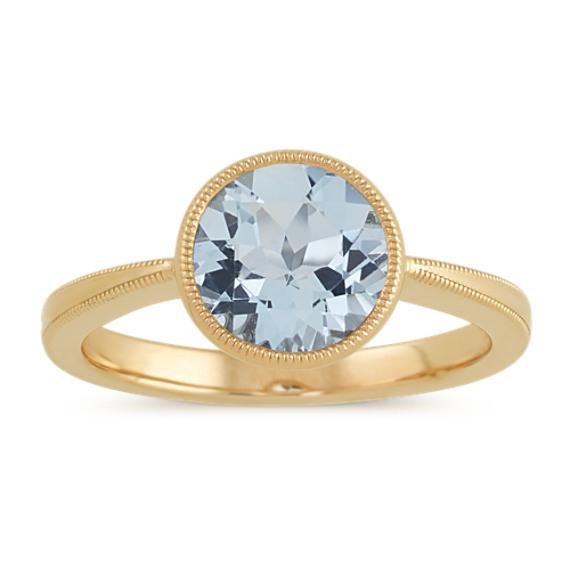 c4201bcfbc7b0 Vintage Aquamarine Ring in 14k Yellow Gold