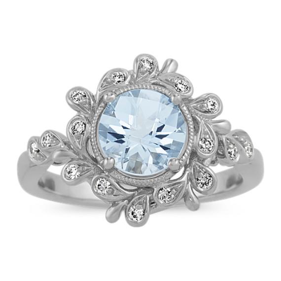 Vintage Aquamarine and Diamond Ring in 14k White Gold