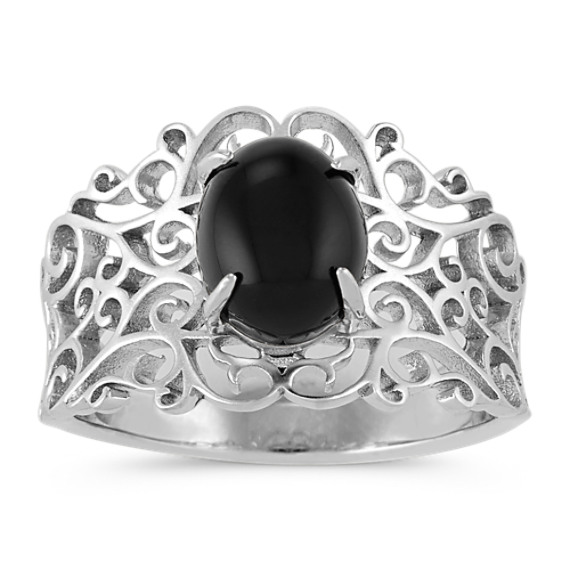 Vintage Black Agate Ring in Sterling Silver