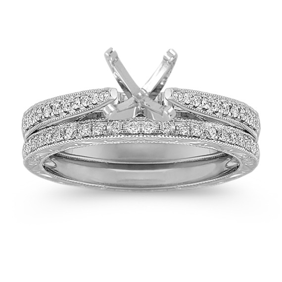 Vintage Cathedral Diamond Wedding Set with Pave Setting