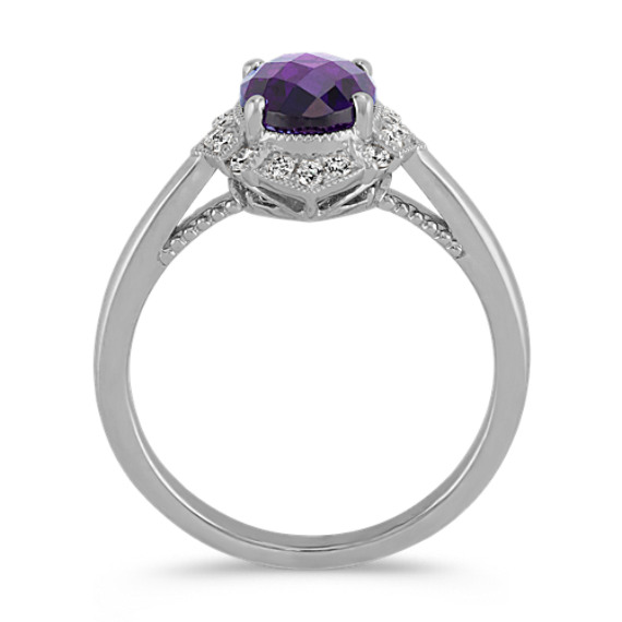 Vintage Checkerboard Cut Amethyst and Diamond Ring image