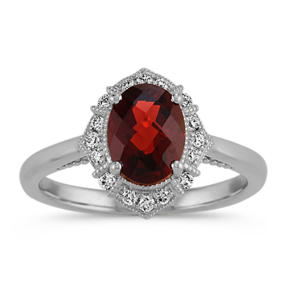 Vintage Checkerboard Cut Garnet and Diamond Ring