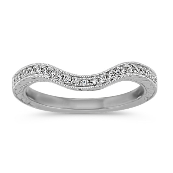 Vintage Contour Wedding Band in 14k White Gold