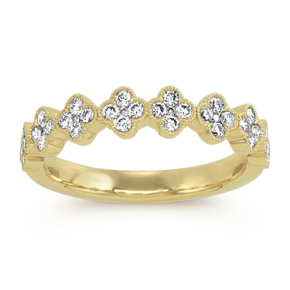 Vintage Diamond Cluster Band in 14k Yellow Gold